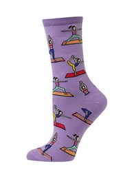 Hot Sox Yoga Pose Printed Cotton Blend Socks Lavender