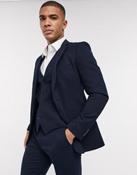 French Connection Wedding Slim Fit Flannel Suit Jacket Navy