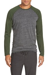 Vince Long Sleeve Baseball T Shirt H. Black Fir Green