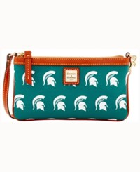 Dooney And Bourke Michigan State Spartans Large Slim Wristlet Green