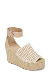Marc Fisher 'S Ltd Andrew Espadrille Wedge Sandal Tan White Leather