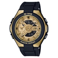 Casio 'S Baby G G Ms Chronograph World Time Resin Strap Watch Black Gold