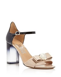 Salvatore Ferragamo Frilly Two Tone Lucite Block Heel Sandals Macadamia