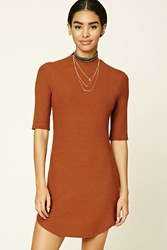 Forever 21 High Neck Bodycon Dress Rust