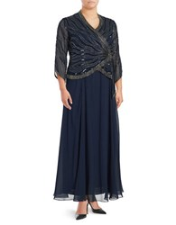J Kara Plus V Neck Embellished Dress Navy