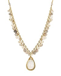 Dana Kellin Briolette Stone And Organic Freshwater Pearl Necklace 17.5 Multi Gold
