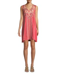 Johnny Was Calida Sleeveless Embroidered Tank Tunic Dusty Coral