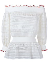 Alexander Mcqueen Lace Knit Top Nude Neutrals