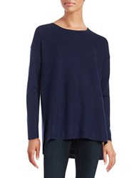 Lord And Taylor Merino Wool Hi Lo Sweater Evening Blue