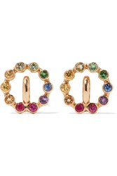 Charlotte Chesnais Rainbow Saturn Xs 18 Karat Gold Multi Stone Earrings One Size