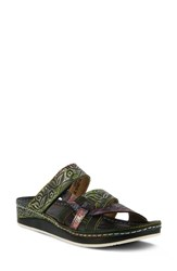 L'artiste Caiman Sandal Black Multi Leather