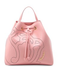 Braccialini Patterned Leather Backpack Pink