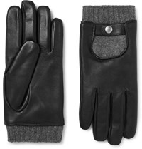 Mulberry Cashmere Lined Leather Gloves Black