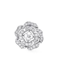 Chanel Bouton De Camelia Brooch In 18K White Gold And Diamonds