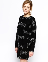 Libertine Libertine Chrome Shift Dress In Slogan Fleece Black