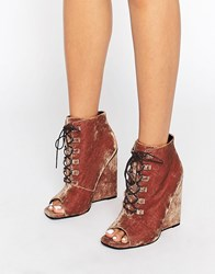 Asos Elis Lace Up Wedge Boots Conker Brown