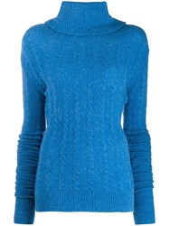 Jacquemus Sofia Ribbed Roll Neck Sweater Blue