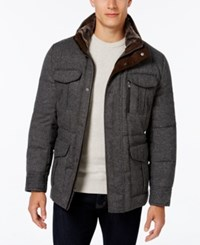 Michael Kors Men's Big And Tall Tweed Stand Collar Coat With Faux Fur Trim Grey Fancy