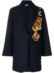 P.A.R.O.S.H. Embroidered Patch Coat Acrylic Polyester Viscose Wool S Blue