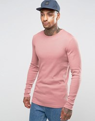 Asos Rib Longline Muscle Long Sleeve T Shirt With Curved Hem In Pink Pink