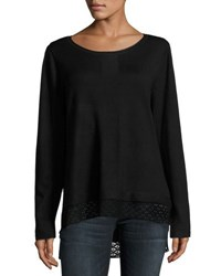 Neiman Marcus Lace Trim Long Sleeve Top Black