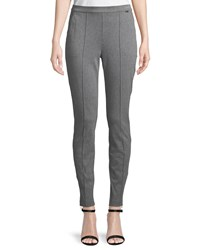 St. John Denim Ponte Pull On Cropped Leggings Light Gray