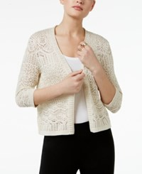 Jm Collection Petite Cropped Crochet Cardigan Only At Macy's Flax