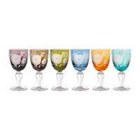Pols Potten Peony Multicolour Wine Glasses Set Of 6