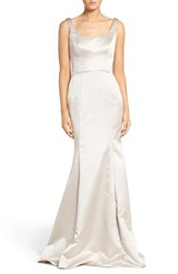 Hayley Paige Occasions Women's Back Cutout Scoop Neck Satin Trumpet Gown Candelight
