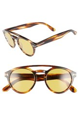 Tom Ford Women's Clint 50Mm Aviator Sunglasses Striped Brown Yellow Striped Brown Yellow
