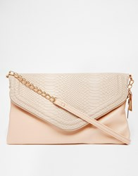 New Look Zipped Envelope Clutch With Croc Effect Oatmeal