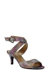 J. Renee Women's 'Soncino' Ankle Strap Sandal Silver Pastel Fabric