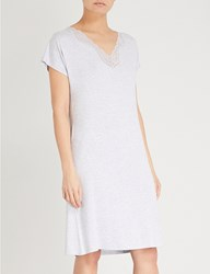 The White Company Lace Trimmed Jersey Night Dress Pale Grey Marl