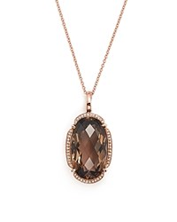 Bloomingdale's Smoky Quartz Oval And Diamond Pendant Necklace In 14K Rose Gold 18 Rose Gld