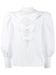 Alessandra Rich Crinkled Taffeta Blouse With Lace Inserts Polyester White