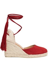 Castaner Carina Fringed Suede Wedge Espadrilles Red
