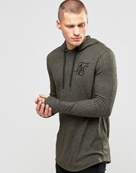 Sik Silk Siksilk Ribbed Hooded Long Sleeve Top Khaki Green