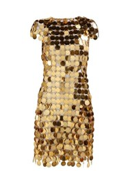Paco Rabanne Chainmail Sequin Mini Dress Gold
