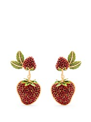 Dolce And Gabbana Strawberry Drop Clip On Earrings Red