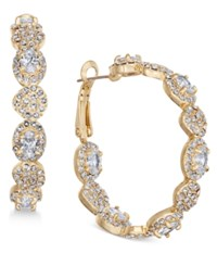 Joan Boyce Gold Tone Crystal Scalloped Hoop Earrings