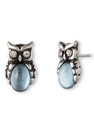 Lonna And Lilly Silvertone And Sky Blue Stone Owl Stud Earrings