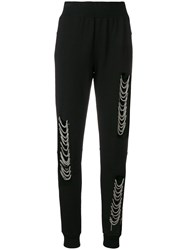 Philipp Plein Distressed Chain Embellished Track Pants Black