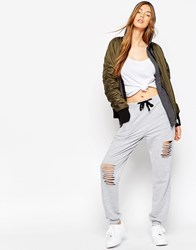 Asos Distressed Jogger With Contrast Tie Grey