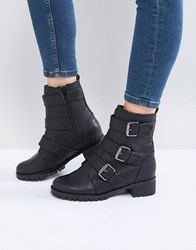 Call It Spring Laoniel Buckle Biker Boots Black
