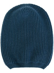 Moncler Ribbed Beanie Hat Blue