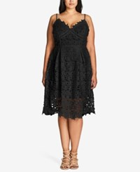 City Chic Plus Size Trendy So Fancy Lace Dress Black