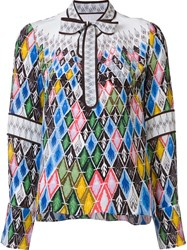 Peter Pilotto Argyle Print Top Metallic