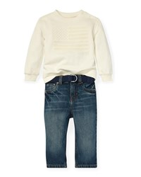 Ralph Lauren American Flag Embroidered Top W Jeans And D Ring Belt Neutral Pattern