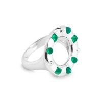 Kinnari Silver Crown Cocktail Ring With Agate Green Silver