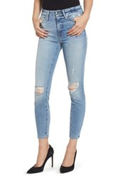 Good American Plus Size Legs Ripped Crop Skinny Jeans Blue 199